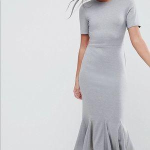 ASOS Midi Dress with Godet Pep Hem Peplum